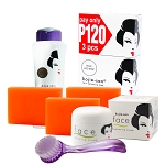 Kojie San Face & Body Complete Whitening !!! - W/ 3 Bars Soap, SPF Body Lotion, Face Cream and Brush