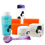 Kojie San Face & Body Complete Whitening !!! - W/ 3 Bars Soap, SPF Body Lotion, Face Cream, Toner and Brush