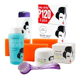 Kojie San Face & Body Complete Whitening 7pc Set - W/ 3 Bars Soap, SPF Body Lotion, Face Cream, Toner and Brush