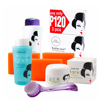 Kojie San Face & Body Complete Whitening 7pc Set - Soap, Lotion, Toner, Cream