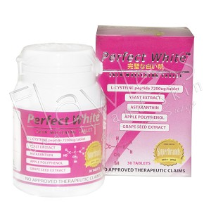 Authentic Perfect White Skin Whitening Tablets -  L-Cysteine Peptide, Vitamin C and Natural Extracts