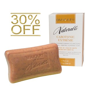 30% OFF!! Makari Naturalle Carotonic Extreme Exfoliating Purifying Lightening Soap Enriched with Carrot Oil, SPF 15, 7.0 Oz.