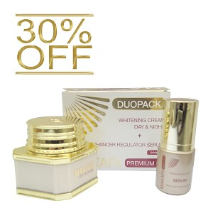30% OFF!!! Makari Day/Night Whitening Cream and Enhancer Serum Premium Plus Duopack