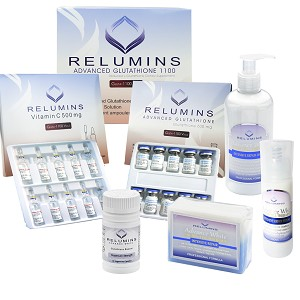Authentic Relumins Advanced 1100mg White Set - 1100mg Set, Booster, Repair Lotion, TA Stem Cell Serum & TA Stem Cell Soap
