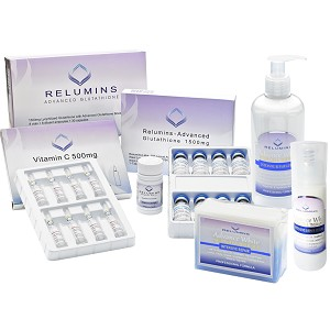 Authentic Relumins Advanced 2000mg White Set - 2000mg Set, Booster, Repair Lotion, TA Stem Cell Serum & TA Stem Cell Soap