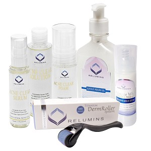 Authentic Relumins Medicated Professional Total Acne& Scar Appearance Reducing Set For Hard to Whiten, Sun Damaged Skin & Indented Scars