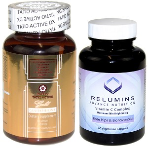 NEW Tatio Active Gold Glutathione 1800mg and Relumins Vitamin C 60 Capsules!!