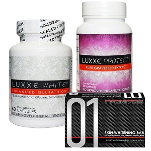 NEW Authentic Luxxe White Enhanced Glutathione & Luxxe Protect Pure Grapeseed Extract & 01 Skin Whitening Soap Bar - SET