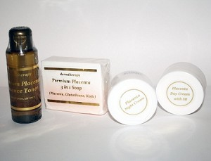 4pc Placenta Set, Rejuvenated Youthful Skin- 1 RA Cream, SBF Foundation cream, 1 Medicated Astringent, 1 Placenta Soap