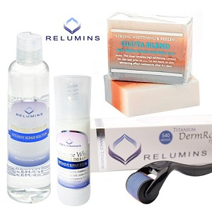 Professional Acne Scar Treatment Set with Relumins Advance Titanium 540 Roller - For Indented and Dark Acne Scars