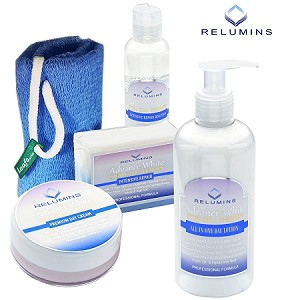 Authentic Relumins Advance White Face & Body Set - TA Stem Cell Premium Day Cream, Intensive Repair Toner, Soap, Leafa Soap Net, & All In One Day Lotion