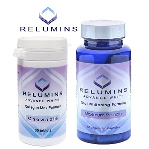 Authentic Relumins Oral Glutathione & Collagen Stack - Advance White Oral Glutathione & Advance White Collagen Max Chewables - NEW AND IMPROVED now with Rose Hips