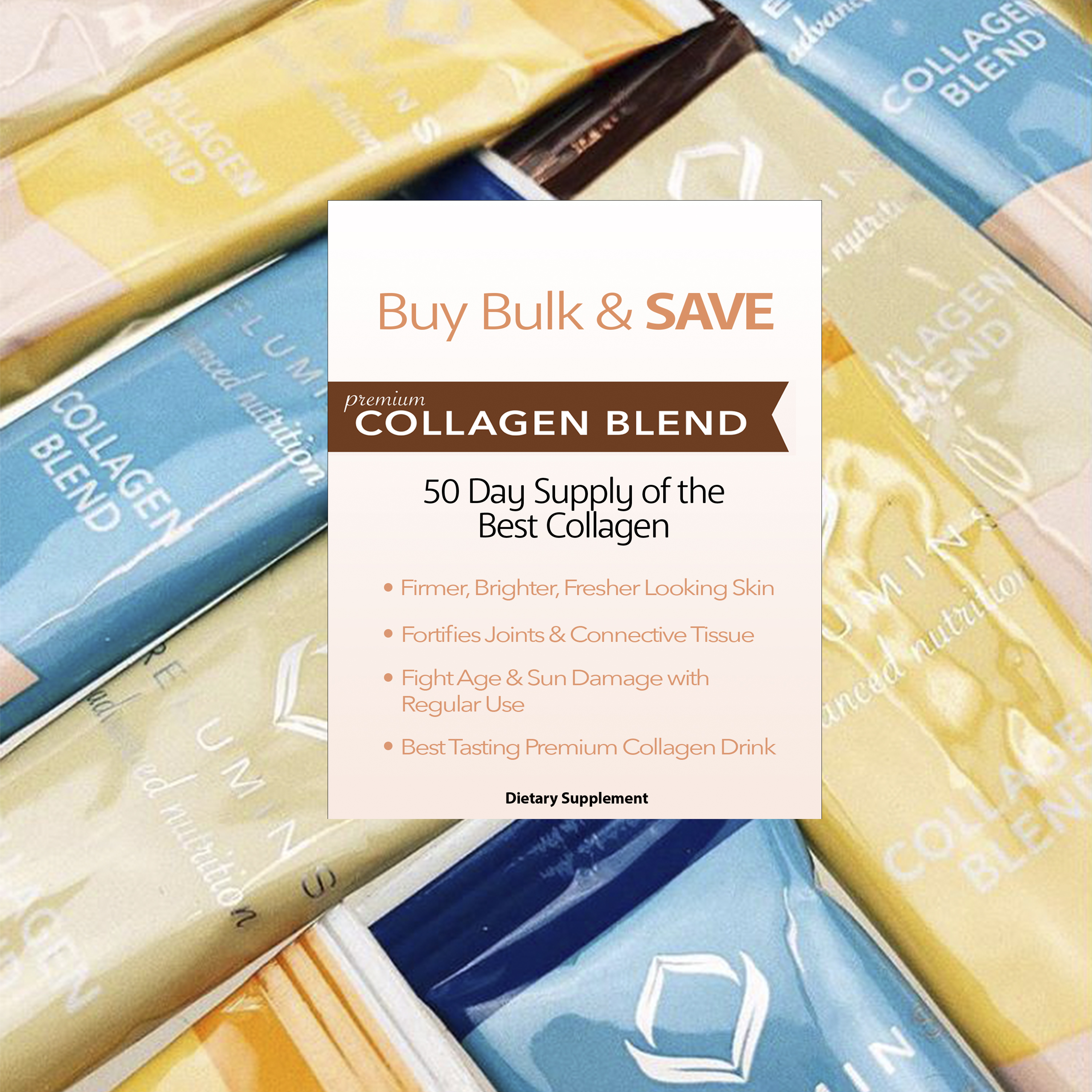 Buy Bulk & SAVE! 50 Sachets Relumins Premium Collagen -  100% Premium-Grade ActuMarine Collagen with Glutathione Green Tea CoQ10
