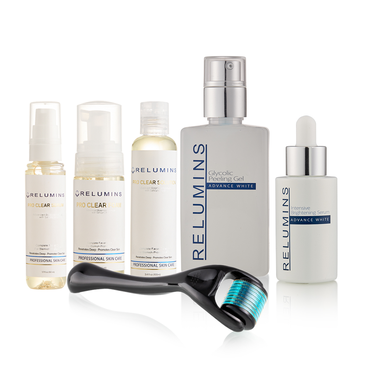Authentic Relumins Professional Total Acne& Scar Appearance Reducing Set For Hard to Whiten, Sun Damaged Skin & Indented Scars