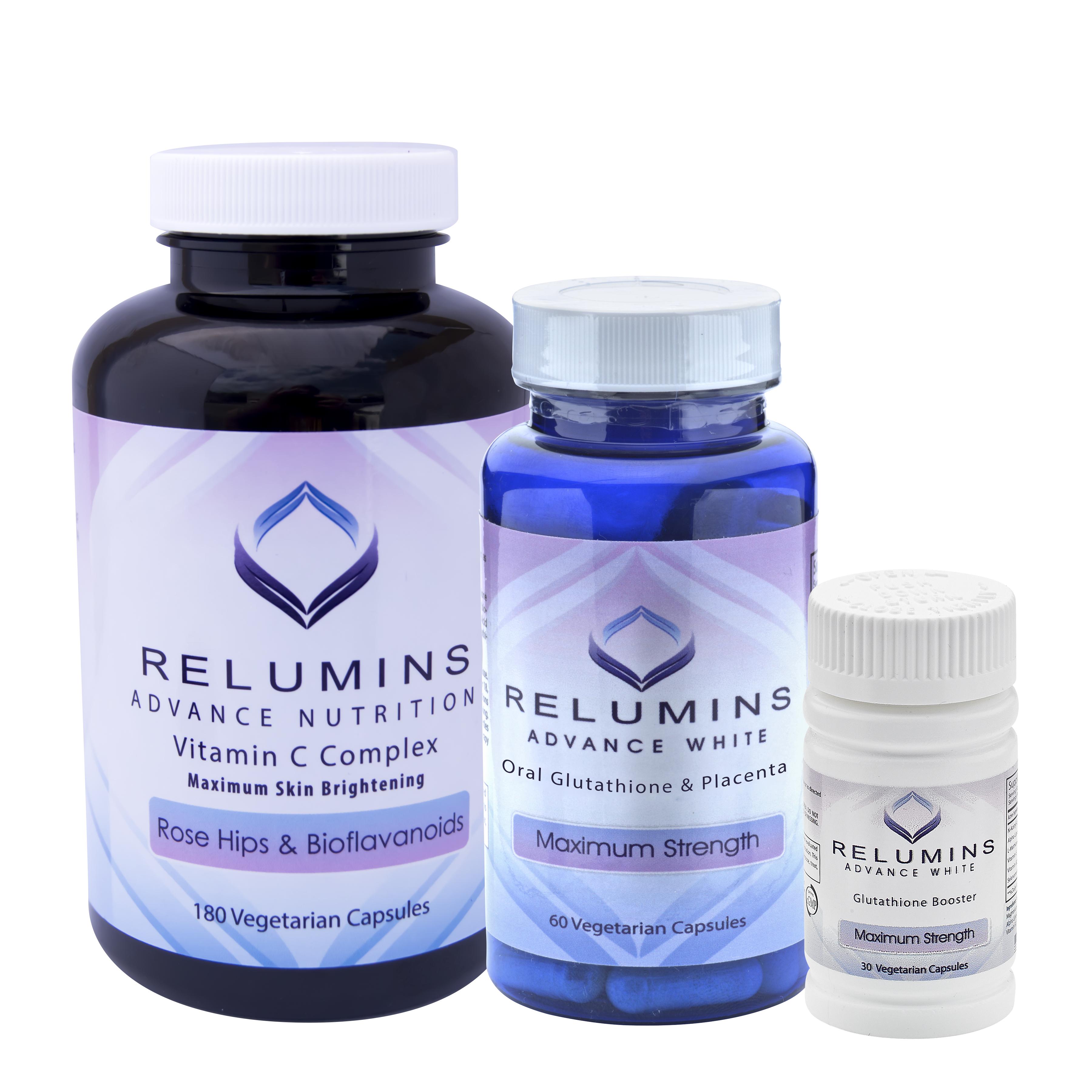 Relumins Advanced White Oral Glutathione Vitamin C Max Booster Vit Collagen Capsules Ultimate Whitening Set