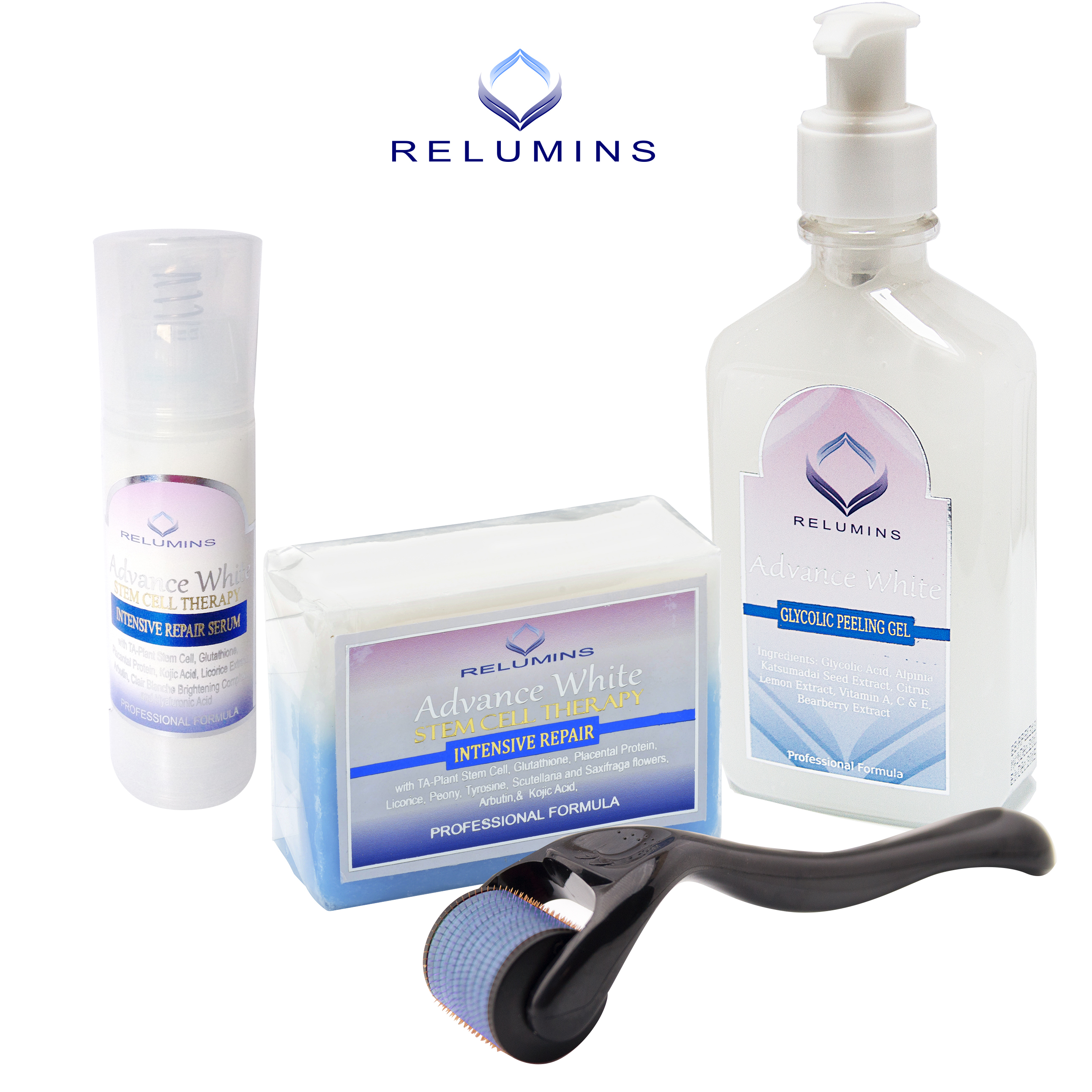 FREE DermRoller with Authentic Relumins Advance White Acne Scar, Dark Spot & Melasma Treatment Set