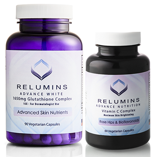Relumins Advanced White Dermatologic Set - 1650mg Glutathione Complex and Advanced Vitamin C with Rose Hips and Bioflavanoids (1 Month Supply)