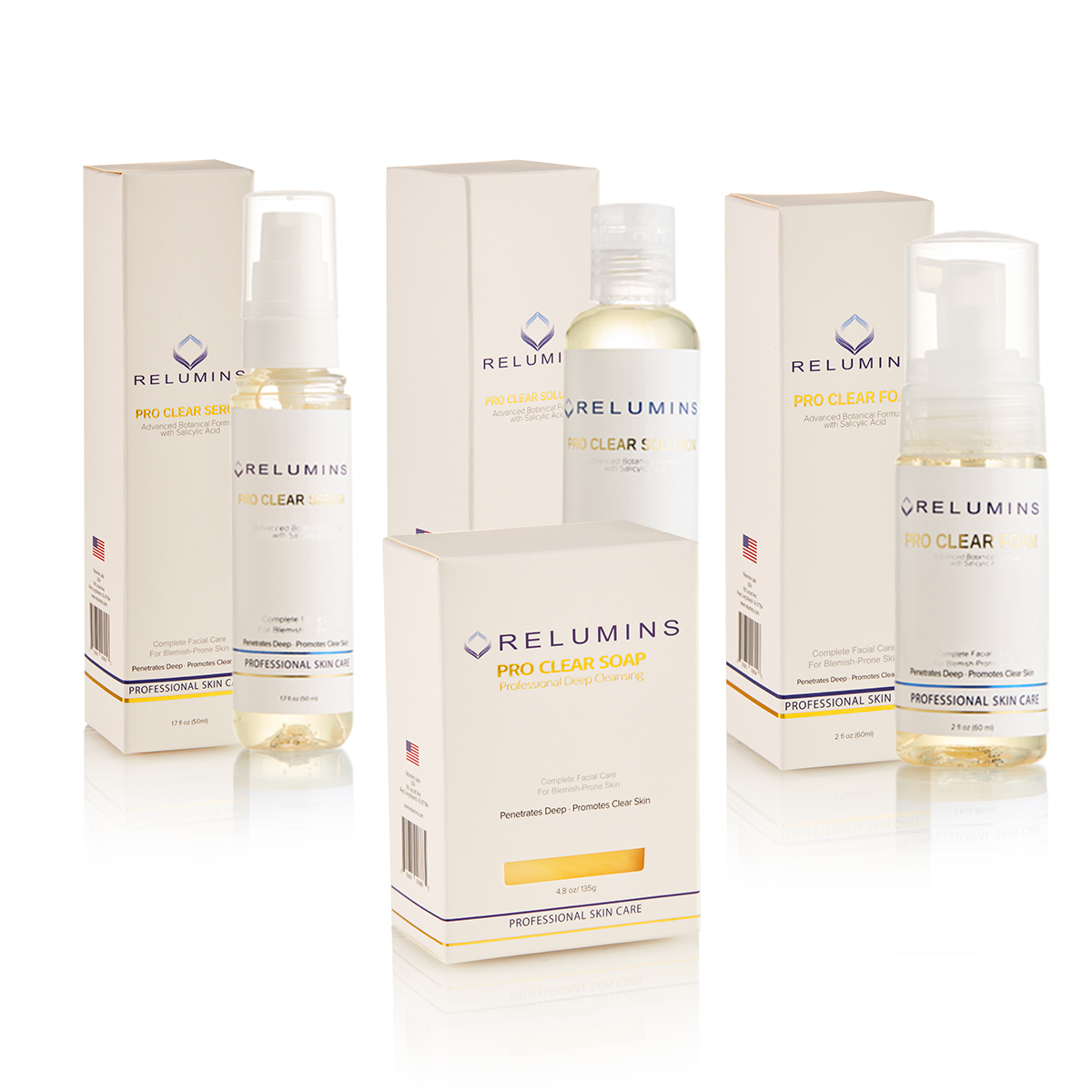 Authentic Relumins Professional Acne Clear Set With Acne Fighting Botanicals