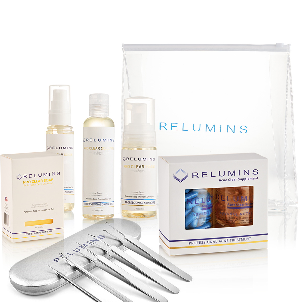 Relumins Professional Clear Set - with all the products you need for clear skin!!!! Plus FREE Travel Bag!