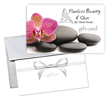 Flawless Beauty and Skin Gift Card with Silver Bow Holder & Envelope