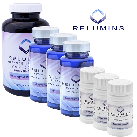 NEW 3 Month Supply Relumins Advanced White Oral Glutathione, Vitamin C MAX & Booster Capsules - Ultimate Whitening Set - NEW with Rose Hips