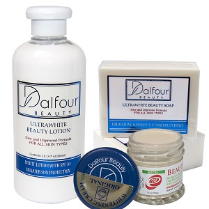 Dalfour Beauty Excel Face &Body Whitening  Set -  Body Lotion, Gold Seal EXCEL Whitening Cream & Soap
