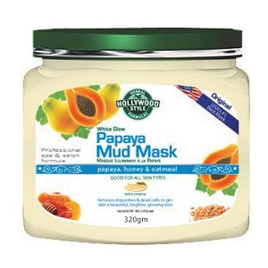 Hollywood Style White Glow Papaya Mud Mask - Refines, Purifies, & Exfoliates - 320gm jar
