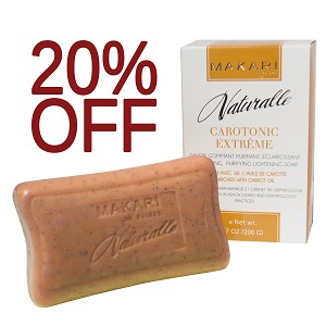SALE 20% OFF!! Makari Naturalle Carotonic Extreme Exfoliating Purifying Lightening Soap Enriched with Carrot Oil, SPF 15, 7.0 Oz.