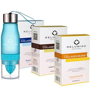 Relumins Premium Collagen Blend With Relumins Water Infuser Bottle - Pineapple Or Blueberry Or Vanilla