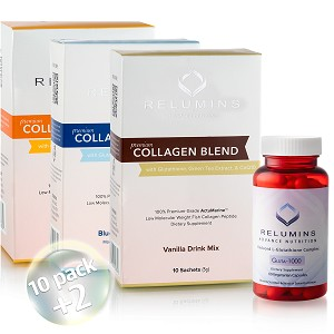 Relumins Premium Collagen and Glutathione.  Feel Good - Look Good 10 Sachet Set!!!  SALE 20% More Free!!!