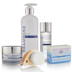 Authentic Relumins Advance White Face & Body Set - TA Stem Cell Premium Day Cream, Intensive Repair Toner, Soap, Facial Brush, & All In One Day Lotion