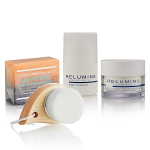 Relumins Advance White Complete Intimate Set- Whitening Soap, Deodorant Roll-On & Whitening Intimate Cream and Wood Brush