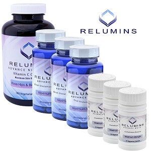 NEW 3 Month Supply Relumins Advanced White Oral Glutathione, Vitamin C MAX & Booster Capsules - Ultimate Whitening Set - NEW AND IMPROVED now with Rose Hips