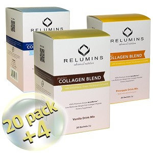 Relumins Premium Collagen Blend - 20 Sachets - 100% Premium-Grade ActuMarine Collagen with Glutathione, Green Tea Extract and CoQ10!! SALE 20% More Free!!!