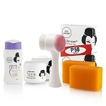 FREE Brush with Kojie San Face & Body Whitening Mini Set with Soap, Face Cream, and SPF Body Lotion!